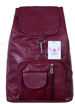 VISHESH COLLECTIONS Beige   Maroon Pu Trendy backpack Bag For Women   Girls  Backpack (Maroon 1bb3756a16688