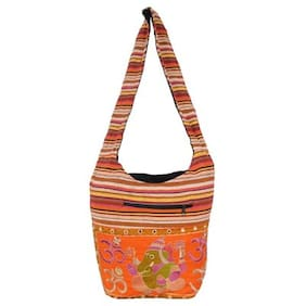 Vivid Rajasthan Women Solid Canvas - Tote Bag Orange