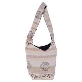 Vivid Rajasthan Women Solid Canvas - Tote Bag Beige