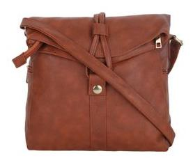 Vogue Street Women Solid Faux Leather - Sling Bag Tan