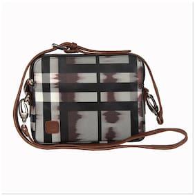 Walletsnbags Grey PU Solid Sling Bag