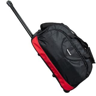 Wellmount 20inch/50cm Stylish & Spacious Weekender Two Wheel Travel Duffle Trolley Bag- Black