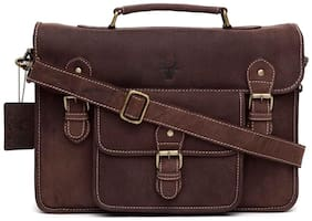 WildHorn Urban Edge Vintage 100 % Genuine Hunter Leather Laptop Messenger Bag