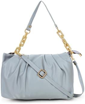 LITTLE IDEA Grey PU Solid Sling Bag