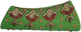 Women Fashion Green Embroidered Clutch Party Bridal Wallet Jute Purse NewDesign