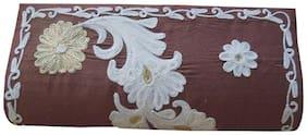Spice Art Women Embellished Silk - Clutch Brown