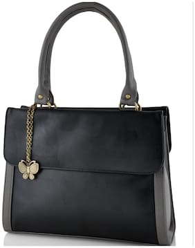 Butterflies Faux Leather Women Handheld Bag - Black