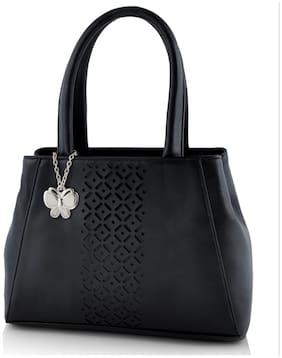 Butterflies Black Polyester Handheld Bag