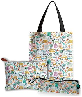Women's Travel Accessories Combo Pack of Canvas Zipper Tote bag, Hand Pouch & Pencil Pouch