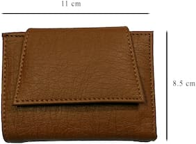 Women Tri Fold Small Tan Wallet