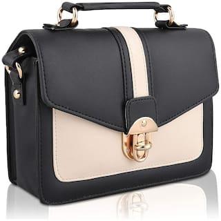 zoopME Black PU Colourblocked Sling Bag