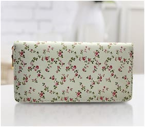 Women Floral Printed Wallet White