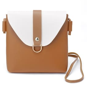 Enso Mustard and White Sling Bag