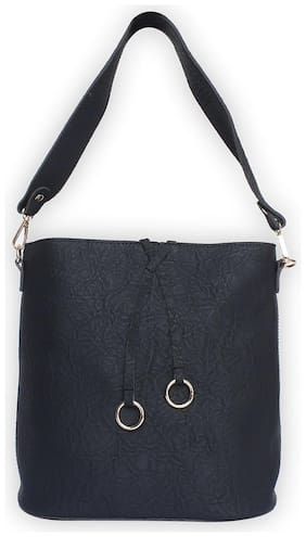 Enso PU Solid Crossbody Bag - Black