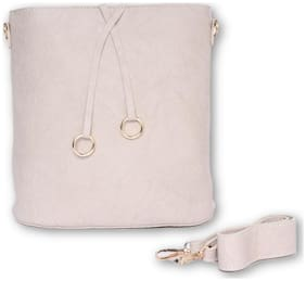 Enso Beige PU Solid Sling Bag