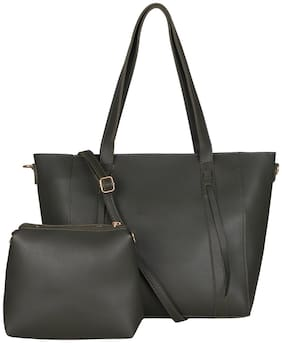 Enso Women Solid PU - Tote Bag Black