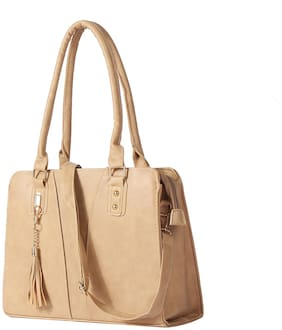 Enso Beige Synthetic Handheld Bag