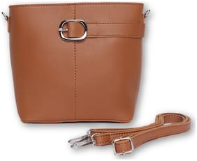 Enso Tan PU Solid Sling Bag