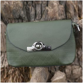 Enso Green Synthetic Solid Sling Bag