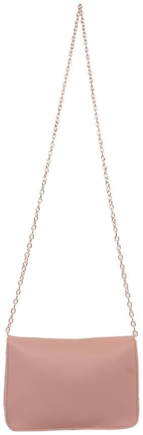 Enso Pink PU Solid Sling Bag