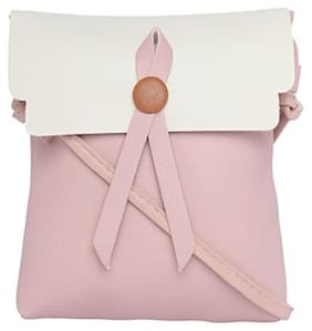 Enso PU Solid Sling Bag - Pink and White