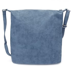 Enso Women Solid Synthetic - Tote Bag Blue