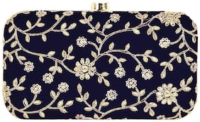 Worthyy Enterprises Women Printed Synthetic - Clutch Blue