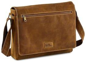 Zero Hour 10 kg Brown Leather Laptop messenger bag