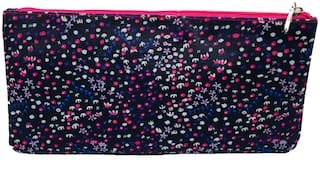 Zipper Pouch with Single Pocket and Zip in Pink Confetti Print with Pink Lining