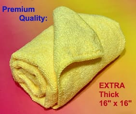 """1 YELLOW LARGE 16""""x16"""" MICROFIBER CLEANING CLOTH TOWEL -> Camera Glass Glasses"""