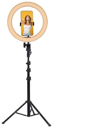 CASVO 10 Inch Ring Light with Tripod Stand and Phone Holder LED Selfie Ring light with Extendable Tripod Stand for Makeup/Photography/Live Stream/Video Recording For All Phones & Mini Cameras