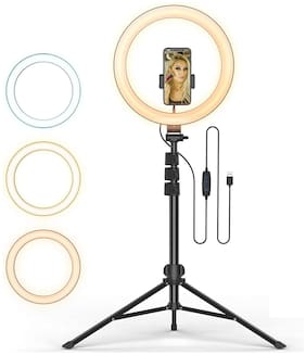 CASVO 10 Inch Ring Light with Tripod Stand & Phone Holders 3 Color Modes 10 Brightness Control Selfie Ring Light for Live Stream/Makeup/YouTube Video/TikTok Instagram Reel For Android & ios Mobile