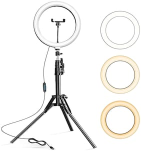 CASVO 10 Inch Selfie Ring Light with 7 Feet Tripod Stand LED Lights with Phone Holder for Live Stream/Makeup/YouTube Video/TikTok Compatible with All Phone 3 Color Modes 10 Level Brightness 360 Rotate