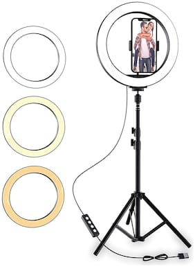 CASVO 10 Inch Selfie Ring Light with Tripod Stand & Phone Holder 3 Color Modes Dimmable Light for Live Stream/Makeup Camera Ring light for YouTube Video, Compatible with ios & Android mobile light