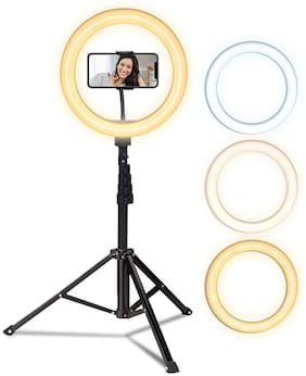 CASVO 10-inch Selfie Ring LED Light with 7 Feet Metal Tripod Stand and Cell Phone Holder 10 Level Light Brightness For YouTube Photo-shoot Video shoot Live Stream Makeup Compatible ios Android Phone