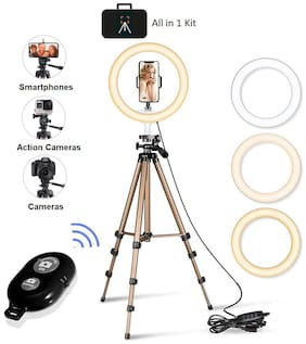 IMMUTABLE 10 inch Selfie Ring Light with  Extendable Tripod Stand & Flexible Phone Holder for Live Stream/Makeup, Desktop Led Camera Ringlight for YouTube TIK-Tok Video
