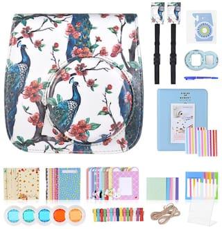 13 in 1 Accessories Kit for Fujifilm Instax Mini 8/8+/8s/9 Include Camera Case/Strap/Sticker/Selfie Lens/Colored Filter/Album/Photo Frame/Border Sticker/ Corner Sticker/Pen