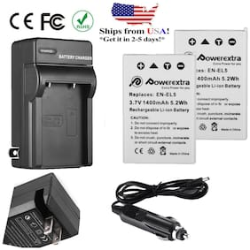 2 Pack EN-EL5 Battery+Charger for Nikon Coolpix P500 P510 P520 P530 P80 P90 P100