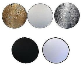 """24"""" 60cm 5 in 1 Photo Round Studio Collapsible Reflector Light Diffuser Disc Set"""
