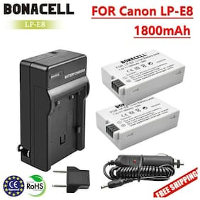 2X 1800mAh LP-E8 Battery + Charger for Canon EOS 600D 550D Rebel T3i T4i T5i GM