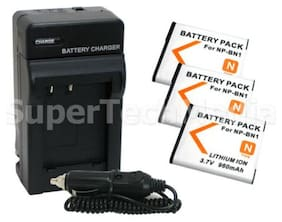 3 Battery + Charger For Sony NP-BN1 DSC-W320 DSC-W310 DSC-T110 DSC-T99 DSC-TX9