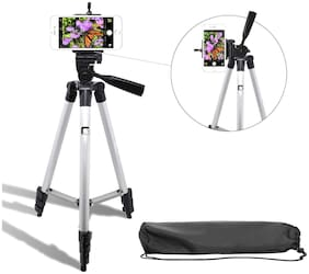 CHG Tripod 3110 Portable TIK Tok Stand for Mobile Stand Tripod, Tripod Kit, Monopod (Silver, Supports Up to 1500 g)