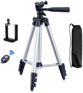 3110-16 Portable & Foldable Camera & Mobile Tripod with Mobile Clip Holder Bracket Fully Flexible Mount Cum Tripod Stand