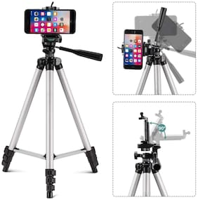 3110-47Portable Tripod Stand For Camera and phone Tripod Kit (Black Supports Up to 1500 g)