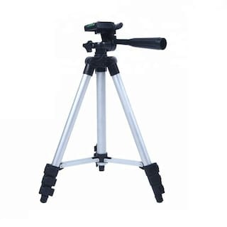 3110 Portable & Foldable Camera Metal Body Mobile Tripod With Mobile Clip Holder Bracket