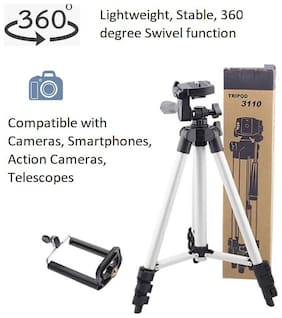 3110 Portable and Foldable Tripod with Mobile Clip Holder Bracket, Fully Flexible Mount with 3 Dimensional Head for Phones and Camera
