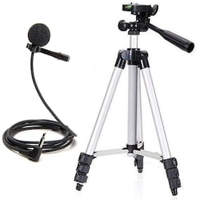 3110 Portable and Foldable Camera - Tripod with Mobile Clip Holder Lapel Microphone for All Smartphones