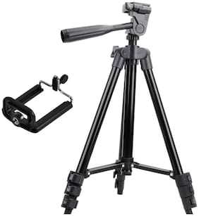 3120 Alluminum Adjustable Tripod With Universal Mobile Clip Compatible With All Smartphone