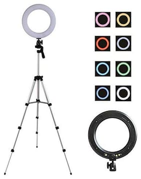 """470 _ RT PRO POD-10"""" Inches Big Led Ring Light for Photo and Video & 3 Coloring Brightness Level Compatible All Mobiles & Camera"""
