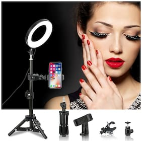 """6"""" LED Ring Light Kit With Stand Dimmable Makeup Phone Camera Selfie Lighting US"""